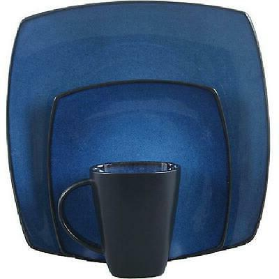 Blue Dinnerware Bowls Kitchen 16 Pcs