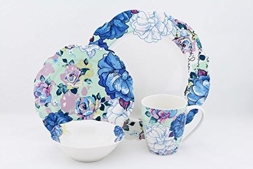 bone china dinnerware set blue