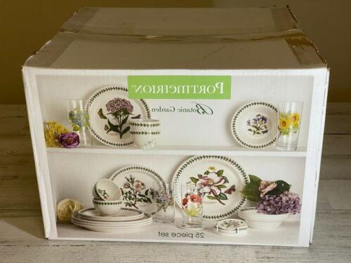 Portmeirion Botanic Garden Piece Earthenware Dinnerware Set Assorted Flowers