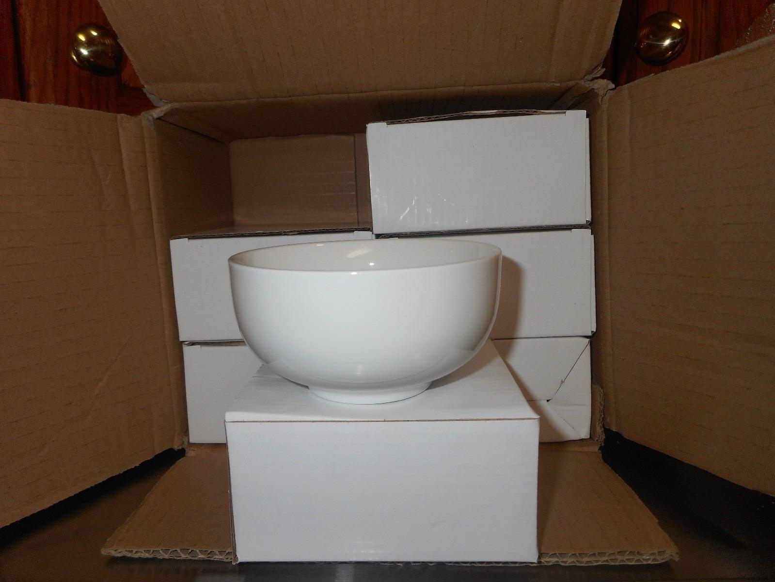 Oxford Set 6 12 oz. Bowls - High Quality Porcelain Pure White