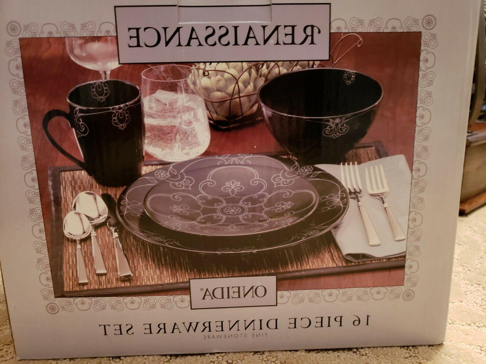 Brand New 16 Piece Oneida Renaissance Black Dinnerware