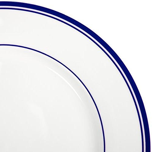 AmazonBasics 16-Piece Stripe Dinnerware 4 - Blue