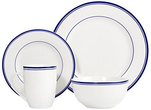 AmazonBasics Dinnerware Set, for 4 - Blue