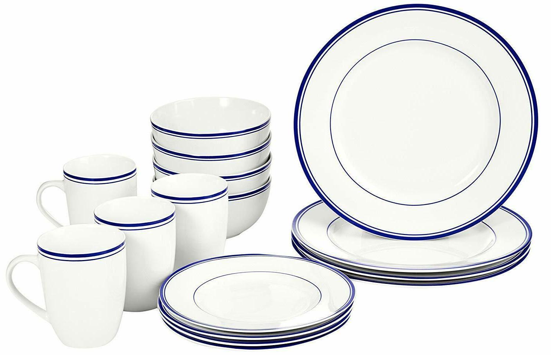 16-Piece Porcelain Dinnerware Set Plates Soup Mugs Dining Ki