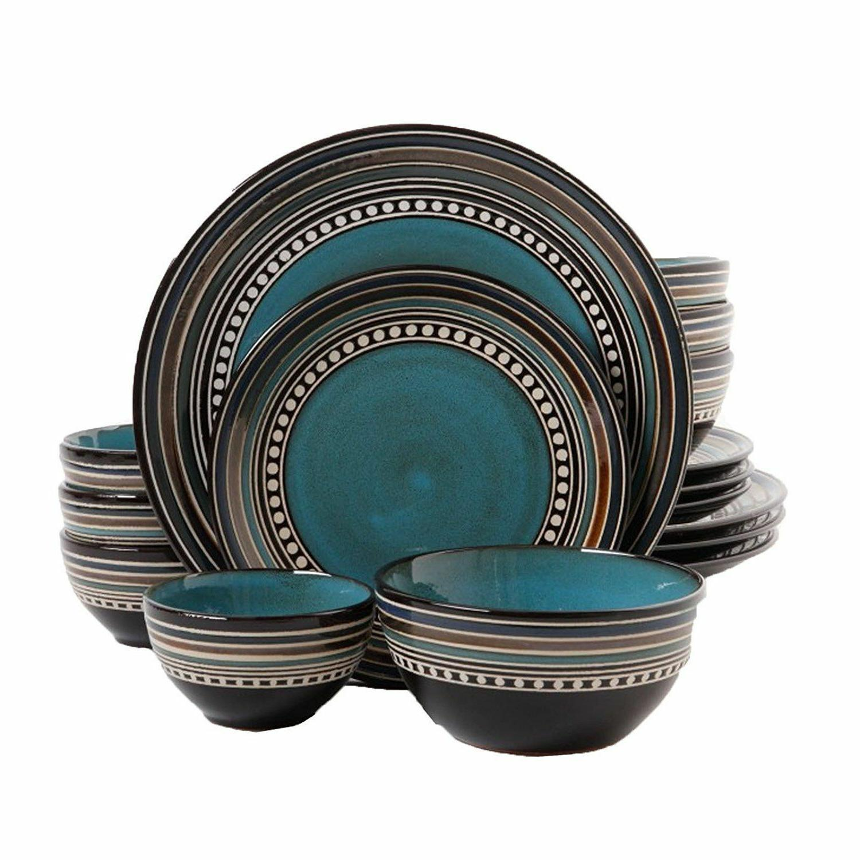 cafe versailles 16pc round blue double bowl