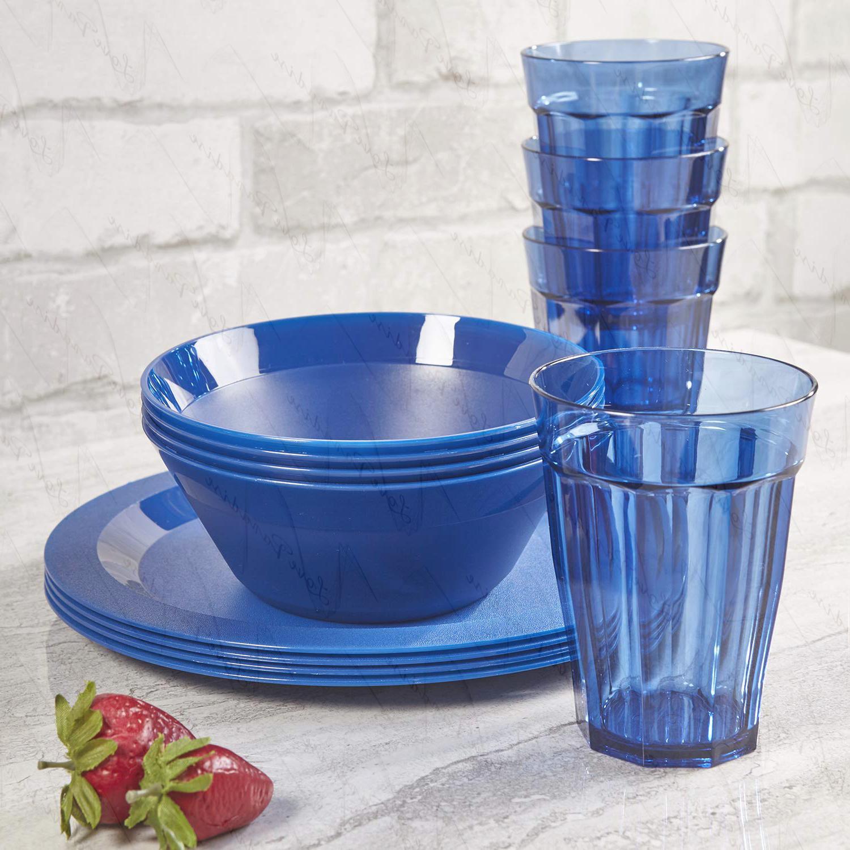 Cambridge Plastic Plate, Bowl and 12-piece Blue