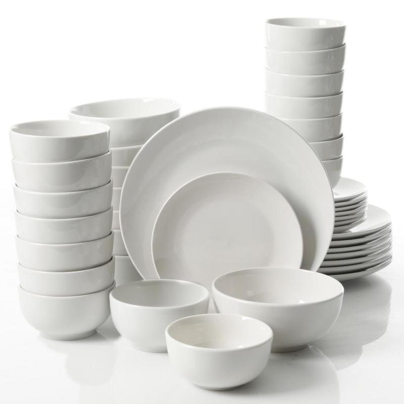 Camrose 40-Piece Casual White Ceramic Dinnerware Set