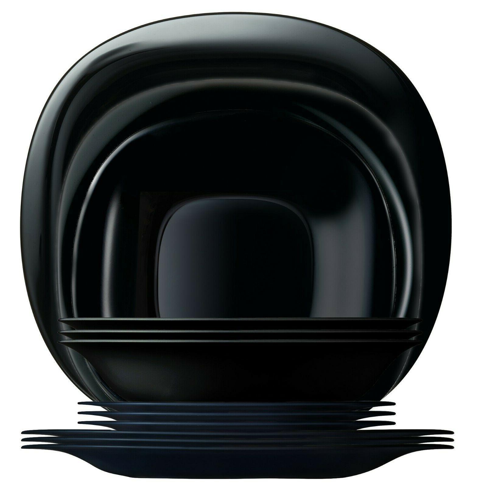 carine black dinnerware service for 4 12