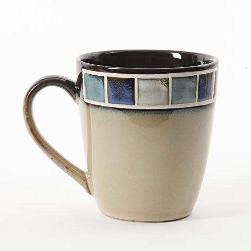 Gibson 114339.16R Azul Piece Glaze Dinnerware Cream and Blue