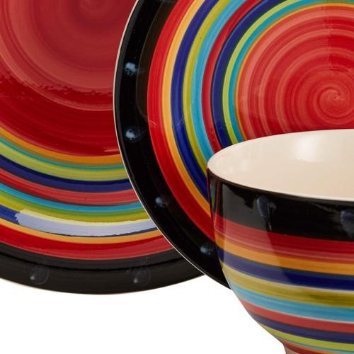 casa stella dinnerware red set 16 pieces