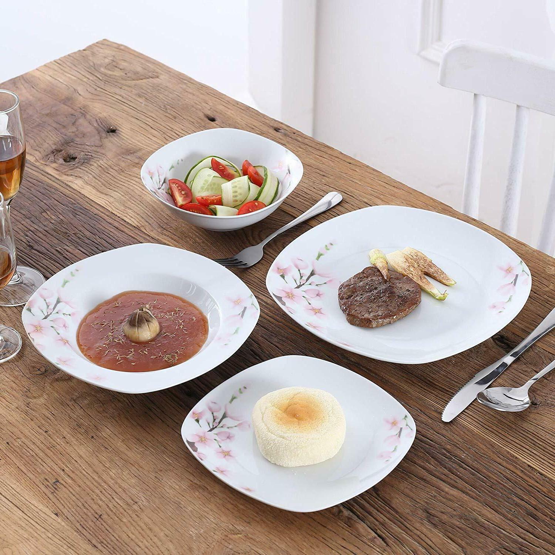 Ceramic Dinnerware Set Floral Plates Bowls Kitchen Set