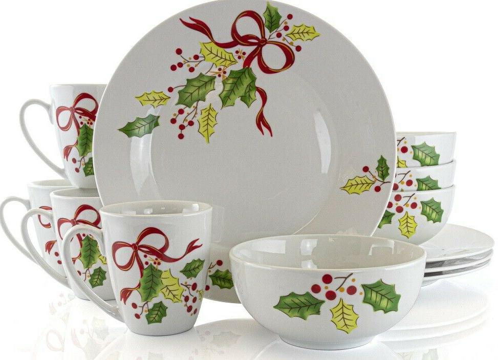 ceramic holiday ribbons 12 piece dinnerware set
