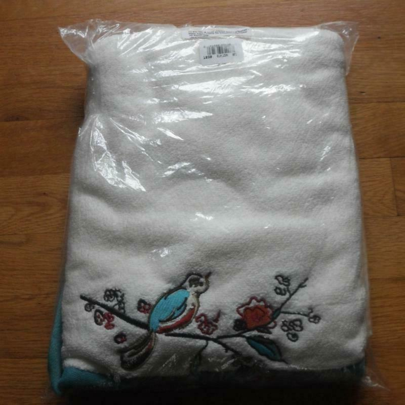 chirp embroidered single bath towel new nwt