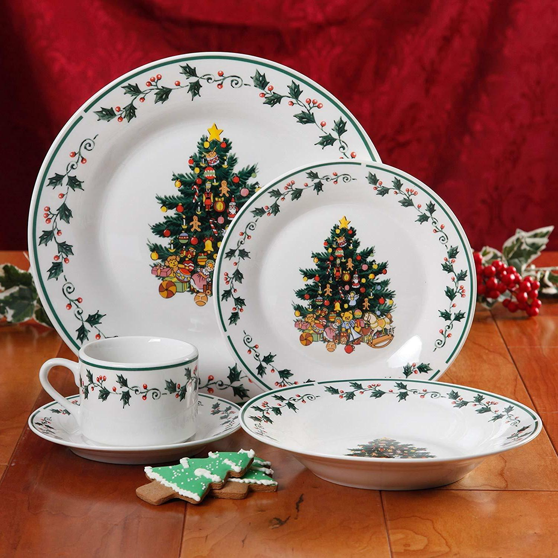 Christmas Dinnerware Set Fine Ceramic Holiday Winter Plates