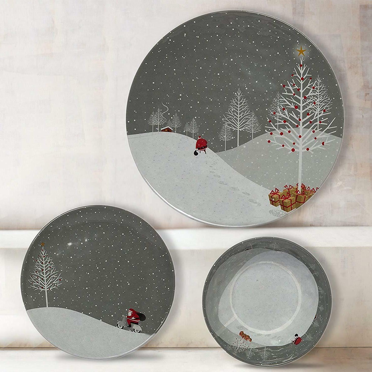 Christmas Dinnerware Sets 4 Serving Heavy Duty Holiday
