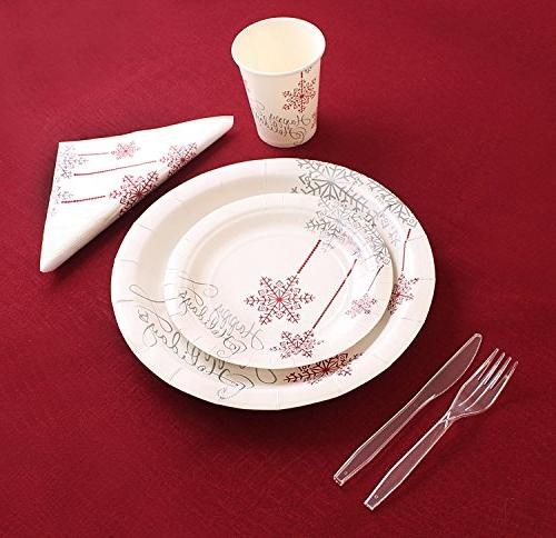 Christmas Disposable Dinnerware 40 Guests, Set Cups, Napkins,