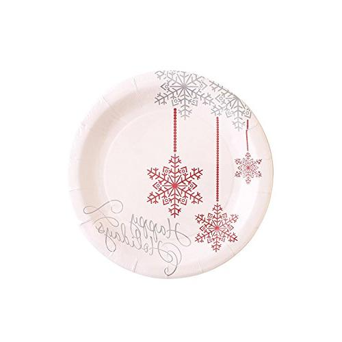 Christmas Disposable for 40 280 Pieces Set of Plates, Cups, Plastic Forks and Knives