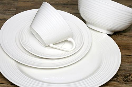 Melange 40-Piece Dinnerware Set 8   Microwave, & Safe   Dinner Plate, Soup Bowl, Cup & Saucer