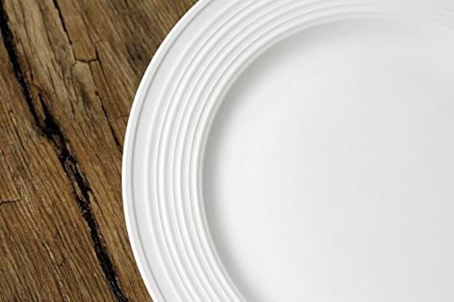 Melange 40-Piece Porcelain Set Service 8 & Oven Safe   Dinner Salad Plate, Soup Saucer