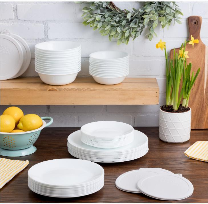 Corelle Classic White Dinnerware Set  Round Plates Bowls 66-