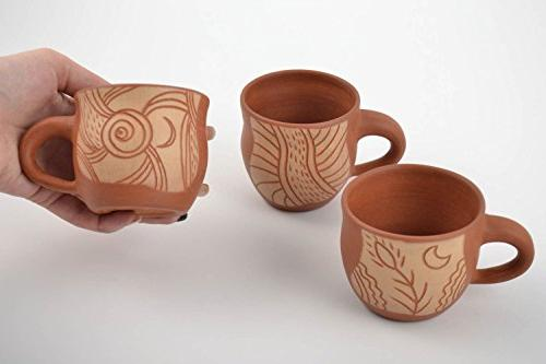 Handmade Cups For Tea Coffee With Beautiful Ornaments 3 Pieces