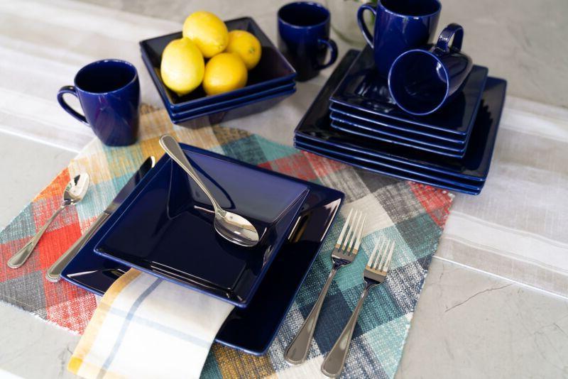 Cobalt Dinnerware Set Kitchen Dining Square Dishes Mug