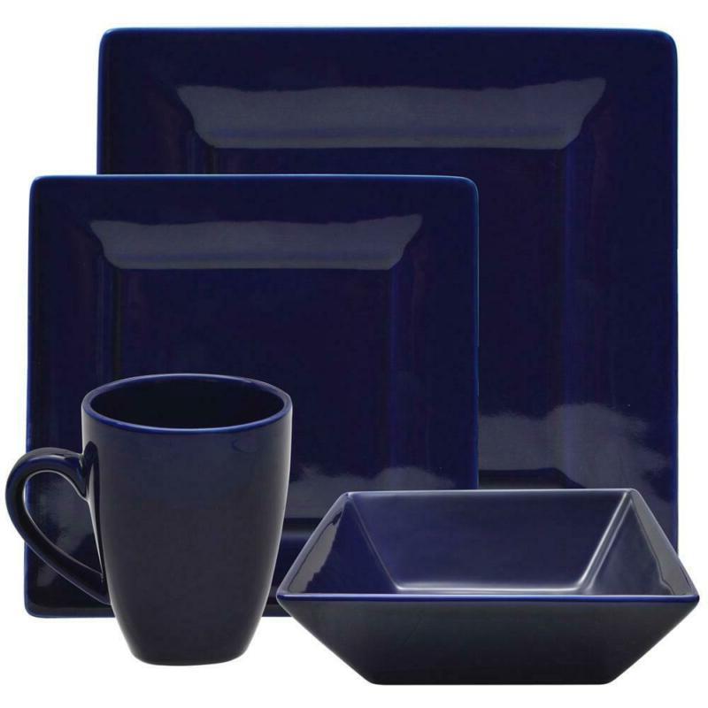 Cobalt Set Dining Mug Bowl 16 Piece