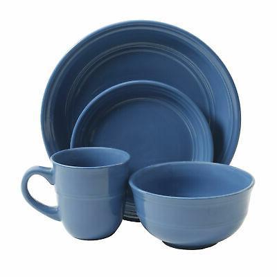Mainstays Cobalt Rainforest 16-Piece Dinnerware Set Stoneware New