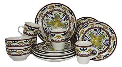 Elama Countryside Sunrise Stoneware Dinnerware Set, 16 Piece