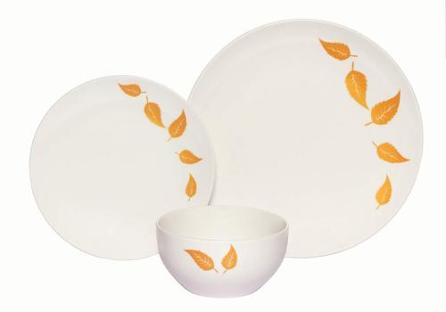 Melange Coupe 18-Piece Porcelain Dinnerware Set | Gold Leave
