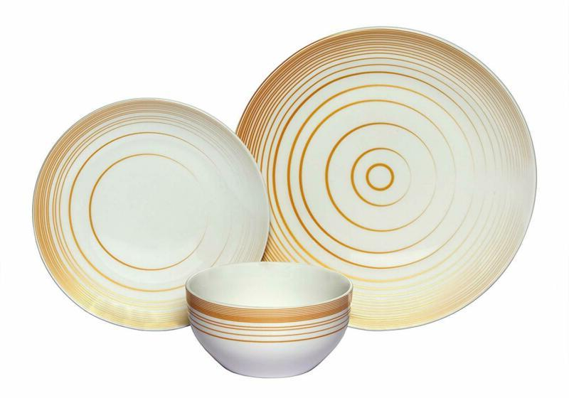 coupe 18 piece porcelain dinnerware set gold