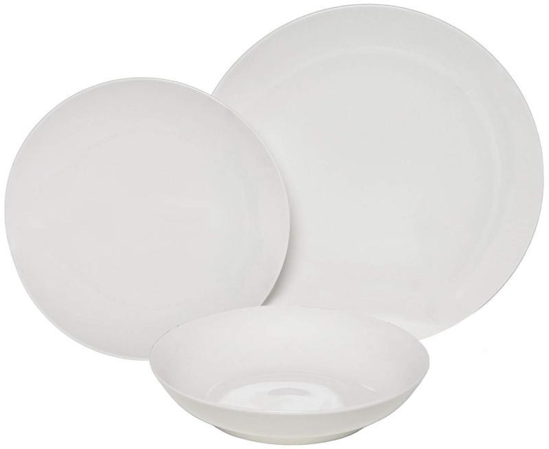 coupe 18 piece porcelain dinnerware set white