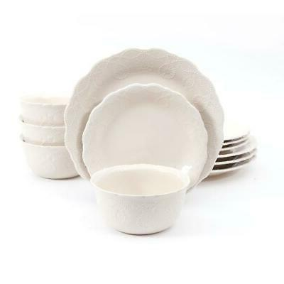 cowgirl lace 12 piece dinnerware set linen