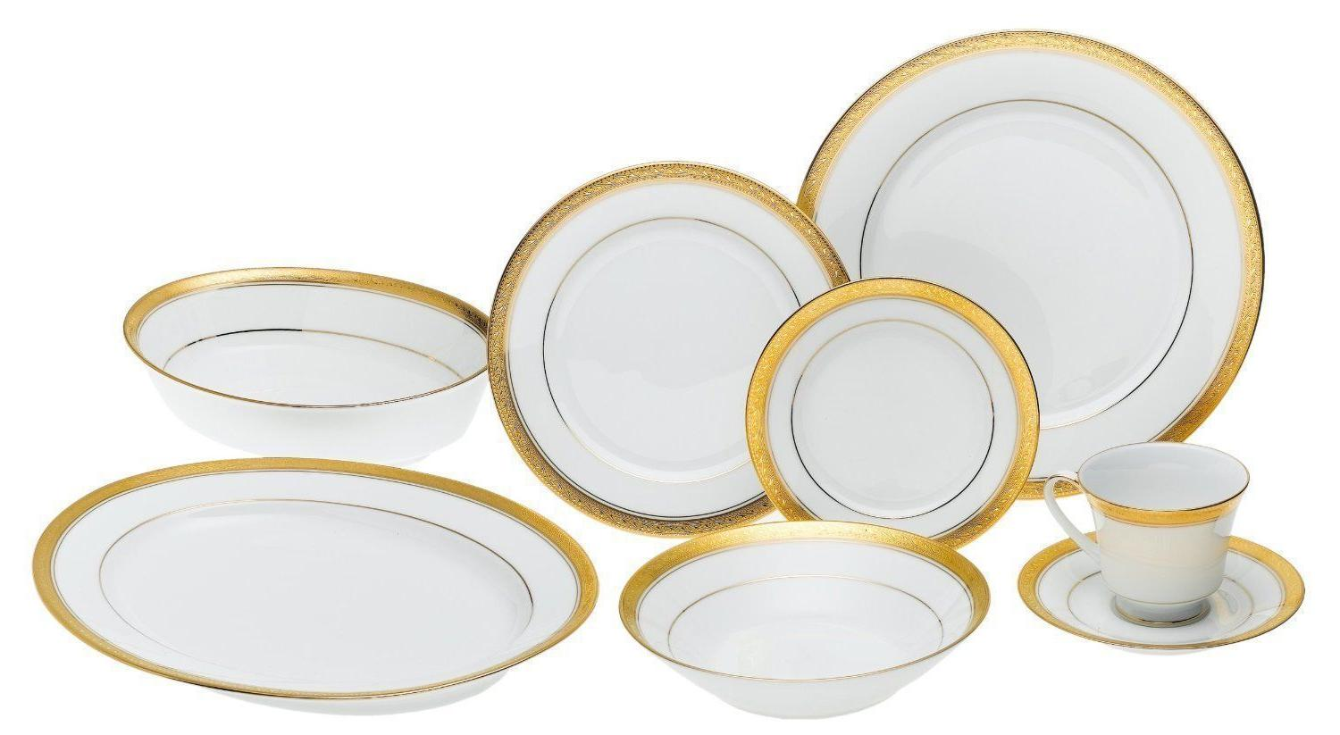Noritake Crestwood Gold 50-piece Dinnerware for with Serve set