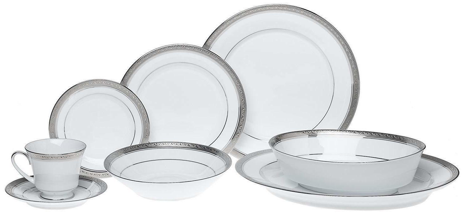 Noritake Crestwood Platinum 50-piece Dinnerware with Serve