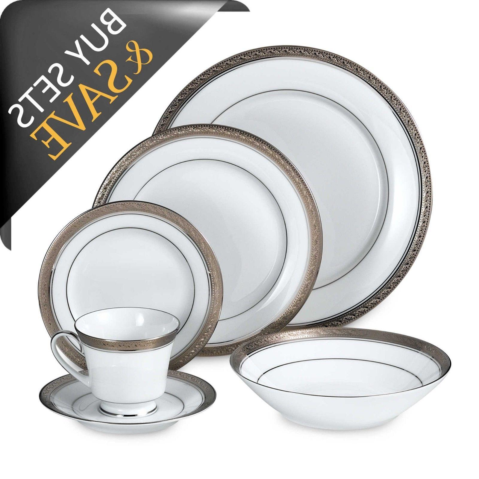 Noritake Platinum 50-piece Dinnerware Service 8 with Serve Set