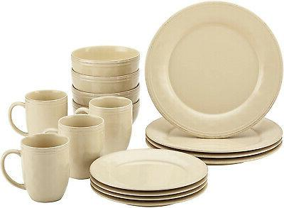 cucina dinnerware 16piece stoneware dinnerware set almond