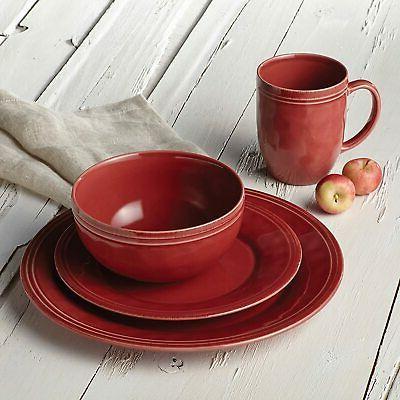 Rachael 16Piece Stoneware Dinnerware Cranberry