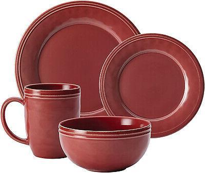 Rachael Cucina 16Piece Stoneware Set Cranberry