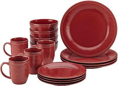 cucina dinnerware 16piece stoneware dinnerware set cranberry