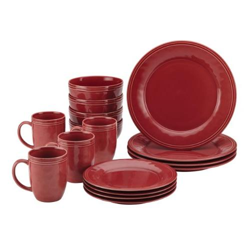 Rachael 16-Piece Stoneware Cranberry Red
