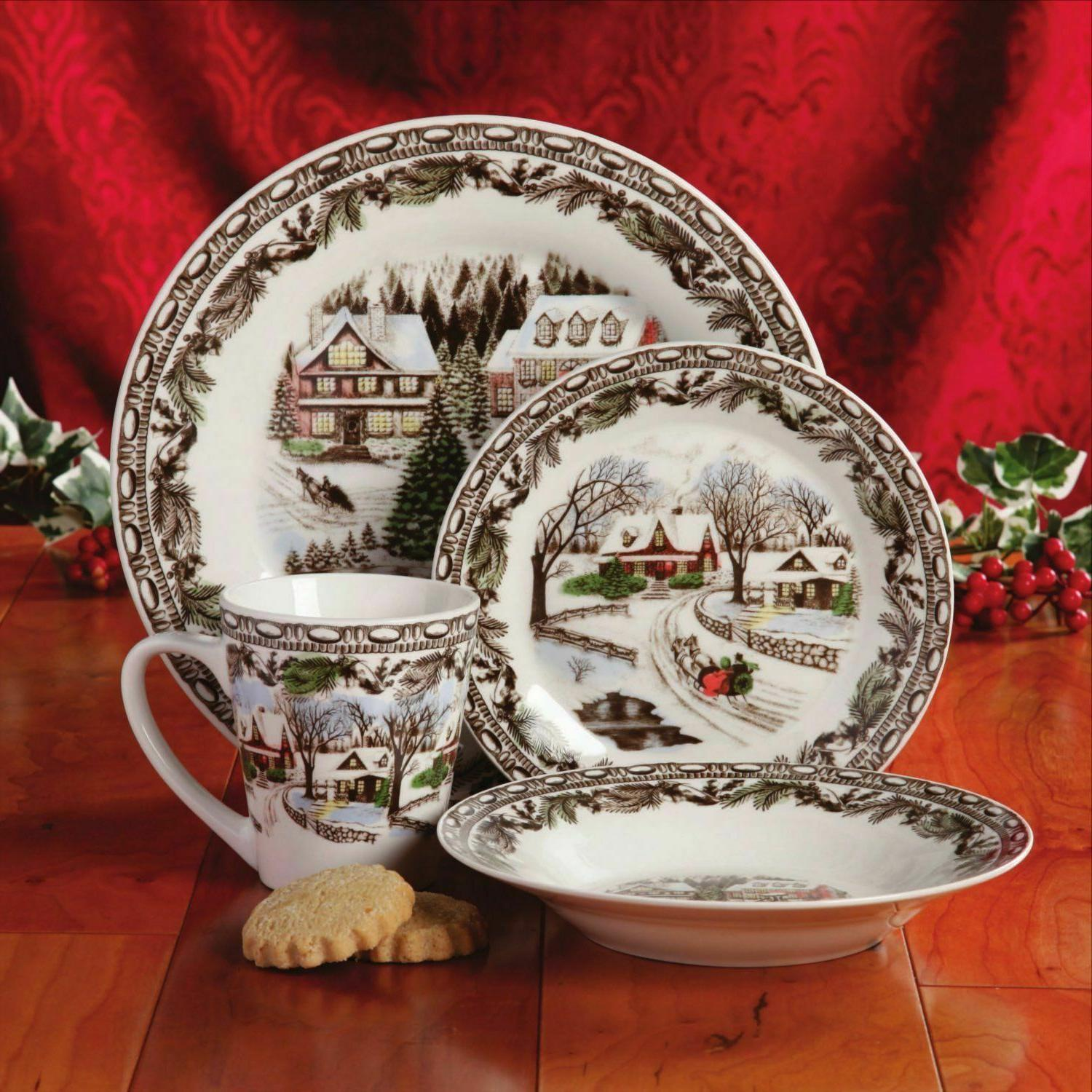 Christmas Dinnerware Set Service Dishes Decorated Fine Ceram