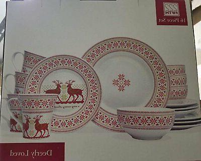 deerly loved 16 piece dinnerware set service