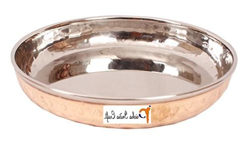 Set Prisha India Handmade Steel plate , Halwa Plate Bowls - Inches , Copper Accessories-
