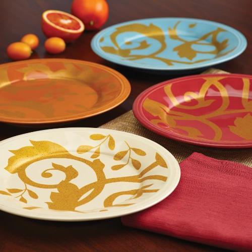 Rachael Ray Dinnerware Gold Scroll 4-Piece Plate Set,