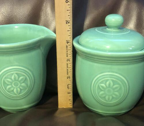 Oneida Petals Sugar And Creamer Set Willow Green Box