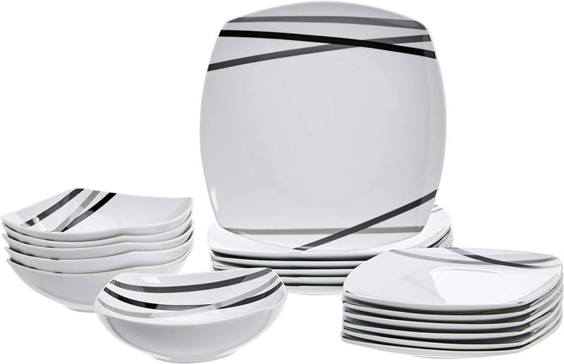 amazonbasics 18 piece square kitchen dinnerware set