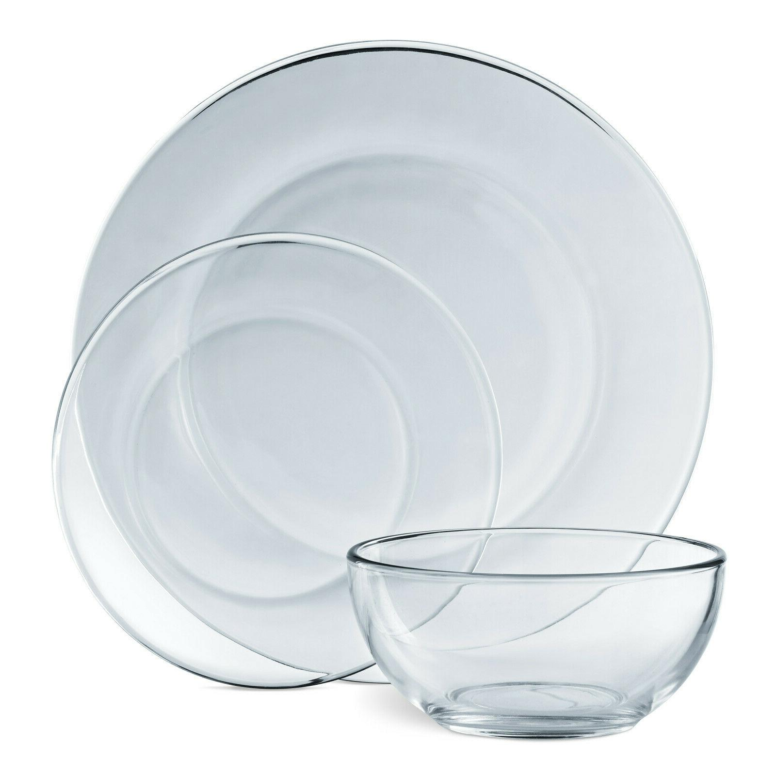 Dinnerware 12 Modern Thick Clear Glass Dishes