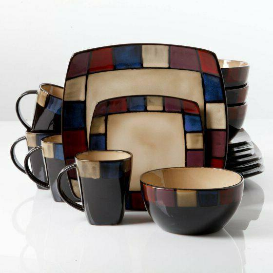 Dinnerware Set Piece Dinner Square Kitchen Bowls