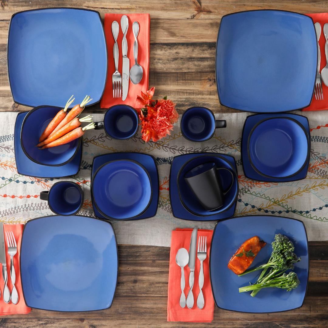 DINNERWARE SET 16-Piece Bowls Mugs Dishes Square